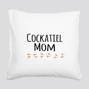 Cockatiel Mom Square Canvas Pillow