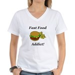 Fast Food Addict Women's V-Neck T-Shirt