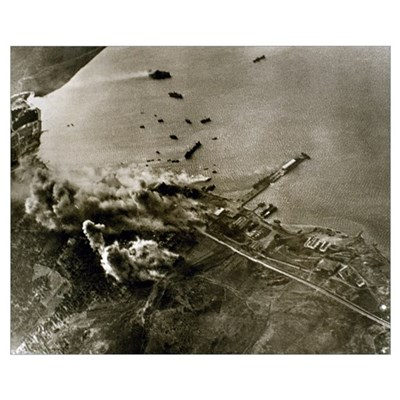 World War II. German aircraft attack against the p Poster