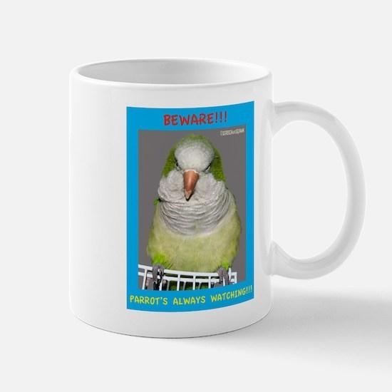 Quaker Parrot is watching Mugs