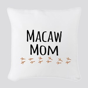 Macaw Mom Woven Throw Pillow