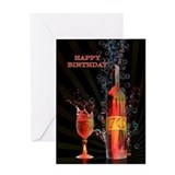 70th birthday splashing wine Greeting Cards