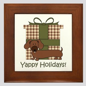 Yappy Holidays Dachshund and Gifts Framed Tile