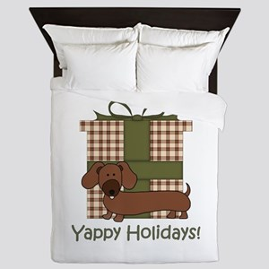 Yappy Holidays Dachshund and Gifts Queen Duvet