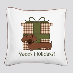 Yappy Holidays Dachshund and Gifts Square Canvas P