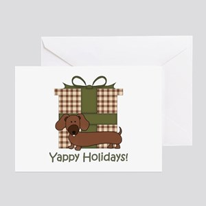 Yappy Holidays Dachshund and Gifts Greeting Cards