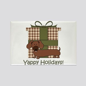 Yappy Holidays Dachshund and Gifts Rectangle Magne