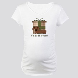 Yappy Holidays Dachshund and Gifts Maternity T-Shi