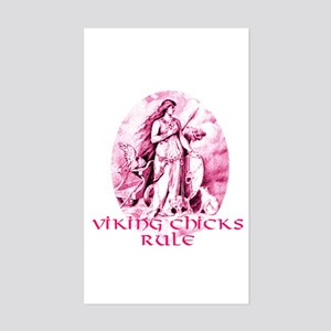 Viking Chicks Rule Rectangle Sticker