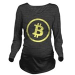 Bitcoin Logo Yellow 1000 Long Sleeve Maternity T-S