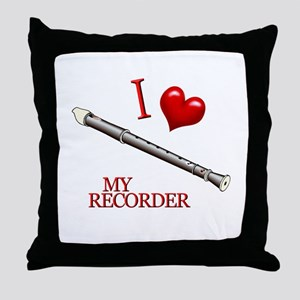 I Love My RECORDER Throw Pillow