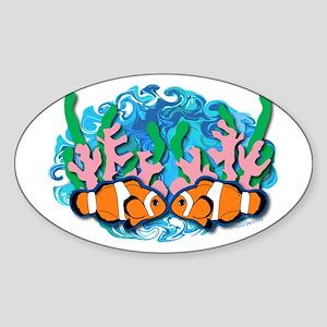 Clown Fish Oval Sticker