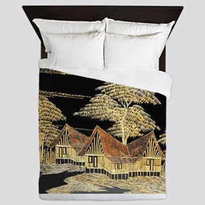 Asian Village Queen Duvet
