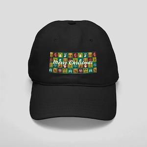 CHRISTMAS CRAZY QUILT Black Cap