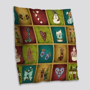 CHRISTMAS CRAZY QUILT Burlap Throw Pillow