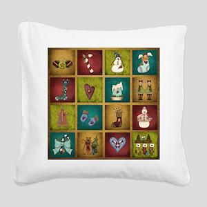 CHRISTMAS CRAZY QUILT Square Canvas Pillow