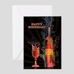 52nd Birthday card with splashing wine Greeting Ca