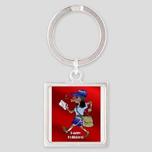 mailCarrierOrnBLWoman Keychains