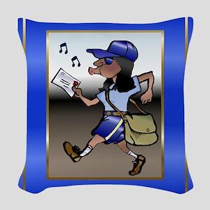 mailCarrierMouseBLWoman Woven Throw Pillow