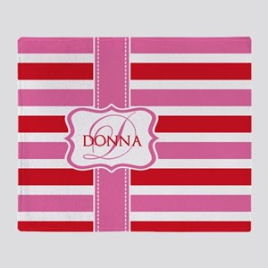 Girly Pastel Stripes Monogram Throw Blanket