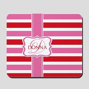 Girly Pastel Stripes Monogram Mousepad