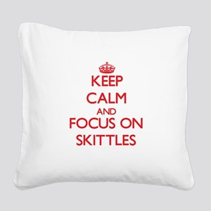 Keep calm and focus on Skittles Square Canvas Pill