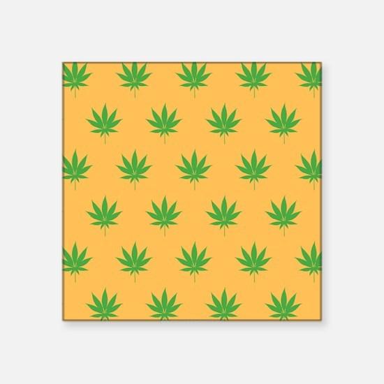 Pot Weed High Hippie 420 Gold Sticker