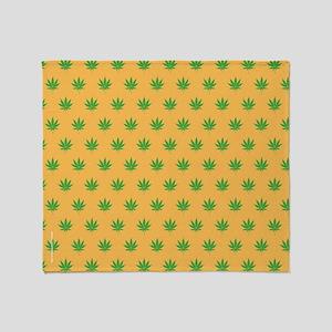 Pot Weed High Hippie 420 Gold Throw Blanket