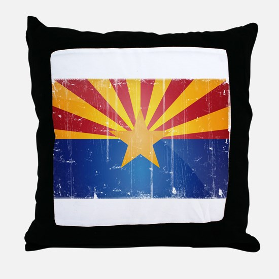 Arizona Flag Distressed Throw Pillow