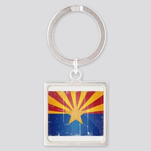 Arizona Flag Distressed Square Keychain