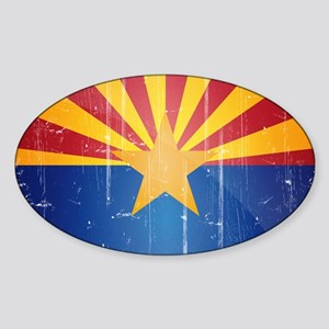 Arizona Flag Distressed Sticker (Oval)
