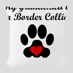 Border Collie Grandchild Woven Throw Pillow