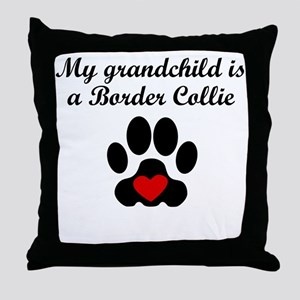 Border Collie Grandchild Throw Pillow