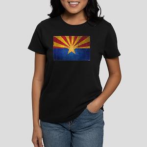 Arizona Flag Distressed Women's Dark T-Shirt
