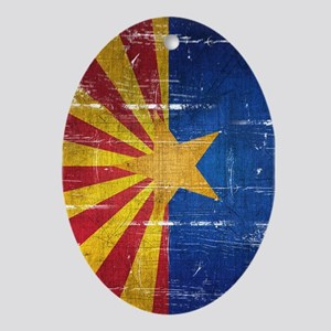 Arizona Flag Distressed Ornament (Oval)