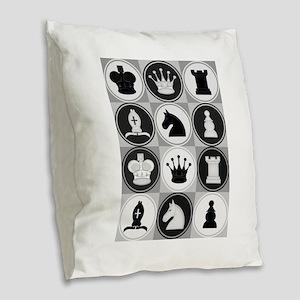 Chessboard Pattern Burlap Throw Pillow