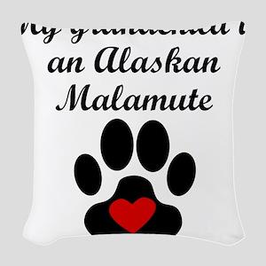 Alaskan Malamute Grandchild Woven Throw Pillow