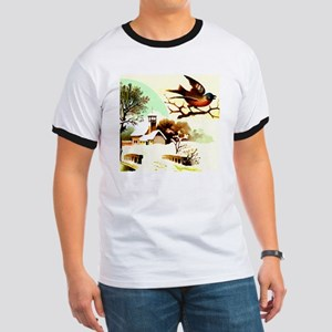 Picture of a bird sitting on a branch wit Ringer T