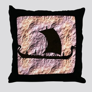viking boat Throw Pillow