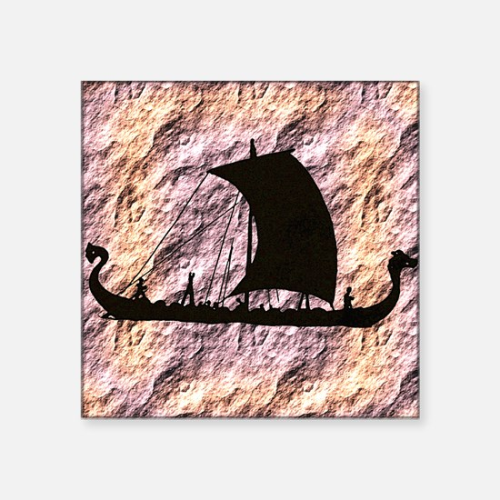 "viking boat Square Sticker 3"" x 3"""