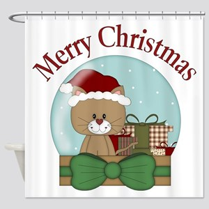 Christmas Cat with Presents Snowglobe Shower Curta
