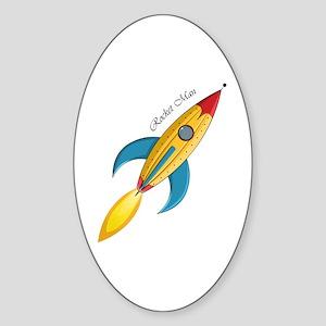 Rocket Man Rocket Ship Sticker (Oval)