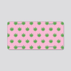 Pot Weed Leaf High Hippie Pink Aluminum License Pl