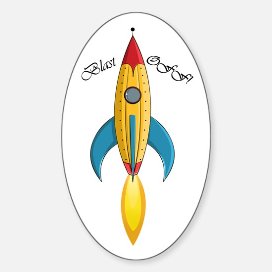 Blast Off! Rocket Ship Sticker (Oval)