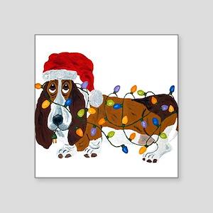 Basset Tangled In Christmas Lights Sticker