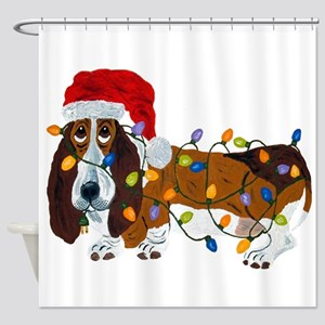 Basset Tangled In Christmas Lights Shower Curtain