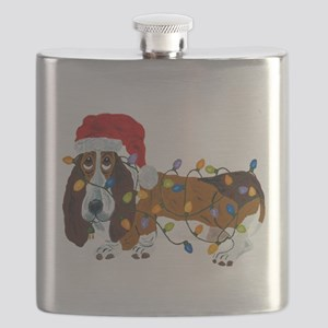 Basset Tangled In Christmas Lights Flask