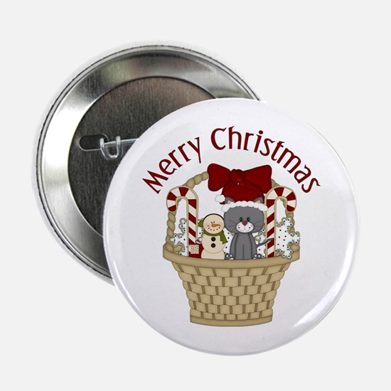 "Christmas Cat and Candy Cane Basket 2.25"" Button"