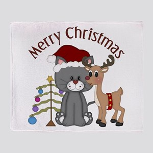 Christmas Kitty, Reindeer and Tree Throw Blanket