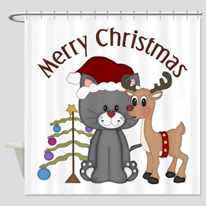 Christmas Kitty, Reindeer and Tree Shower Curtain